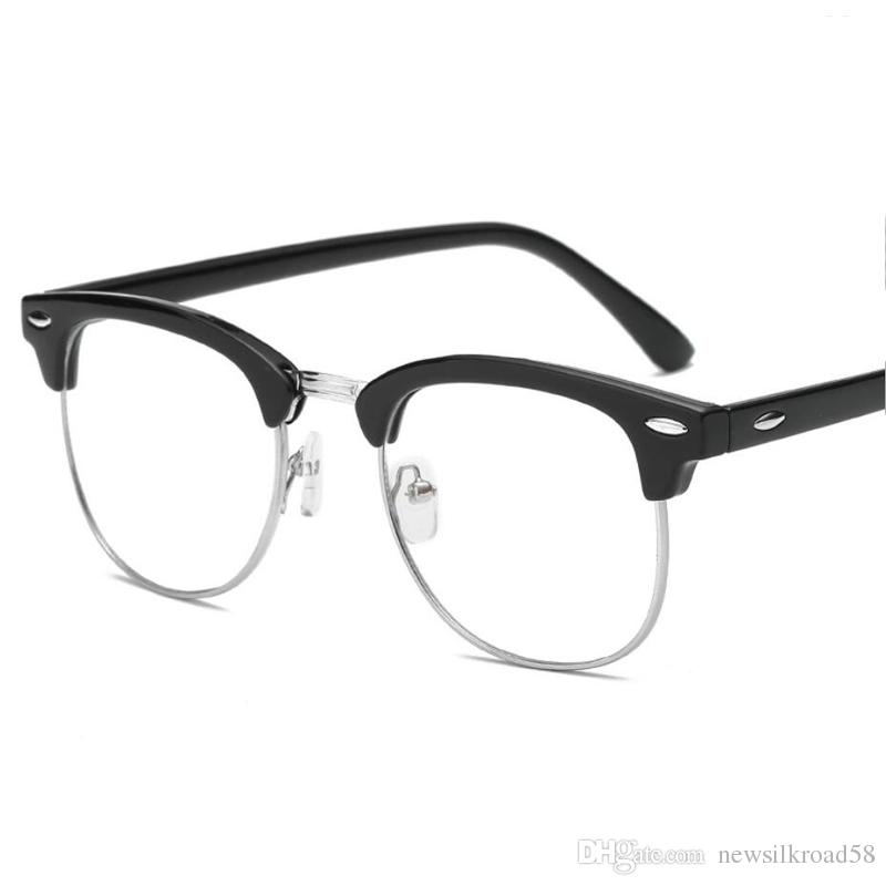 f685c7f97d2 Vintage Finished Myopia Glasses Women Men Reading Eyeglasses Myopia Half  Frame HD Lens Prescription Len Eye Glasses Reading Glasses For Big Heads  Reading ...