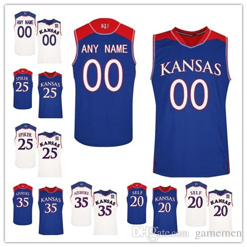 Custom Kansas Jayhawks College Basketball Royal Blue White ... 9d09ee771