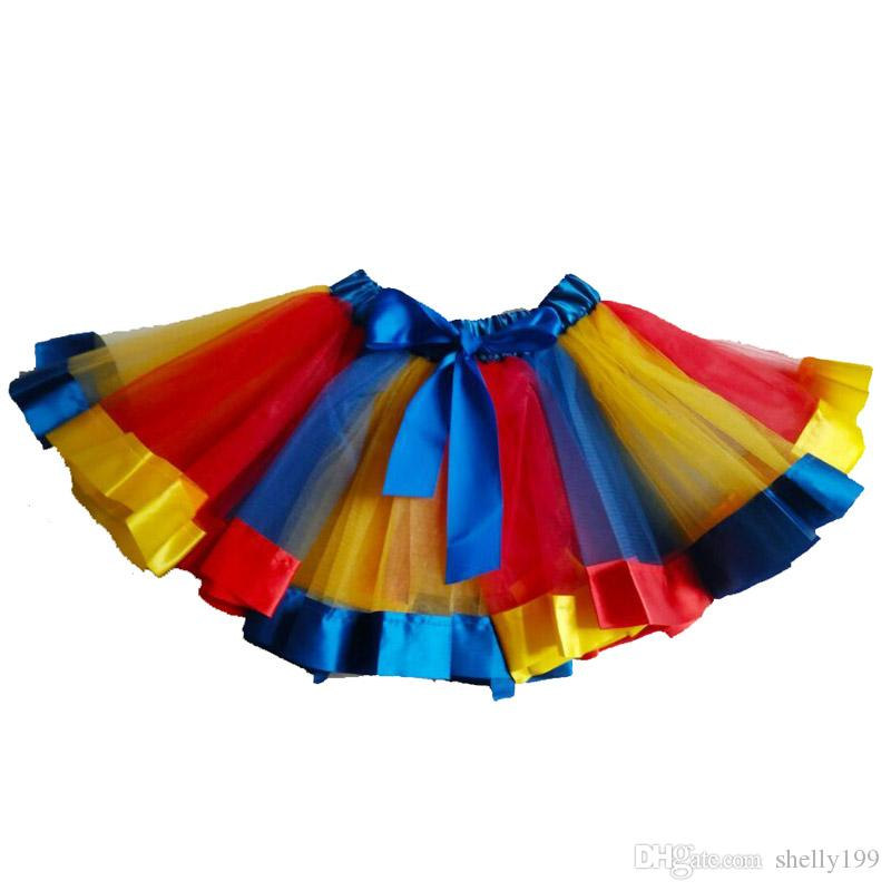 8c09cd83c969 2019 Baby Gilrs Layered Ballet Tulle Rainbow Tutu Skirt For Little ...