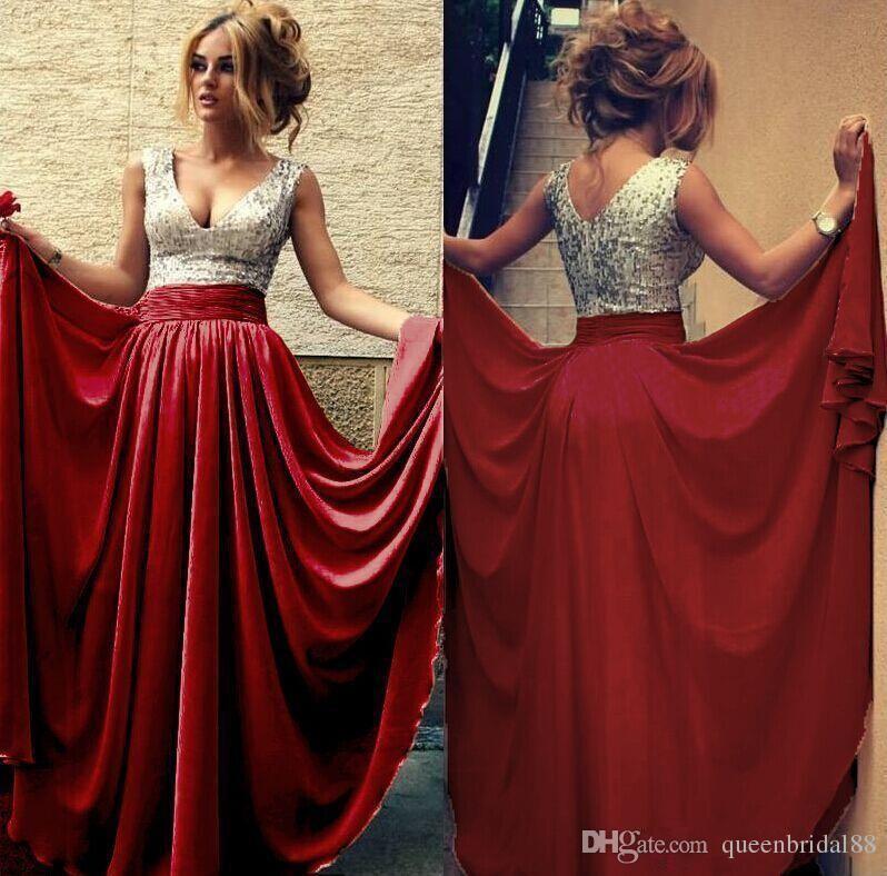 Silver sequined v neck bridesmiad dresses long floor length chiffon maid of honor dress zipper back vestidos