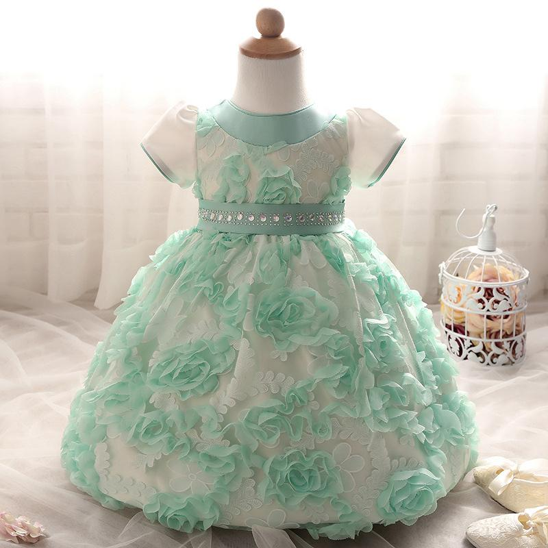 2b9eb4c53 Toddler Girl Clothing 6 12 18 24 Month Infant Short Sleeve Rose Pattern  Blue Mint Green Dress for Baby Girl Wedding Party Dress