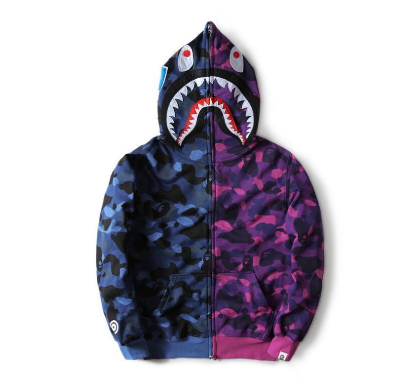 Wholesale Men    S Full Zipper Shark Hoodie Camouflage Purple Fleece Hoodies  And Sweatshirts Autumn Winter Mens Camo Jacket Mens Fall Jackets Army Print  ... a8086d9c9eb0