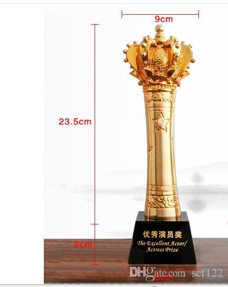 Size 280MM trophy making crystal metal resin custom King glory crown sports prizes custom letterin