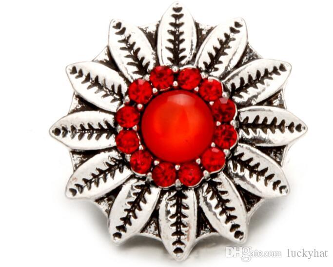 new 18mm snap button charm noosa crystal cat's eye sunflower shape button charm fit pendant necklace bracelet diy handmade jewelry