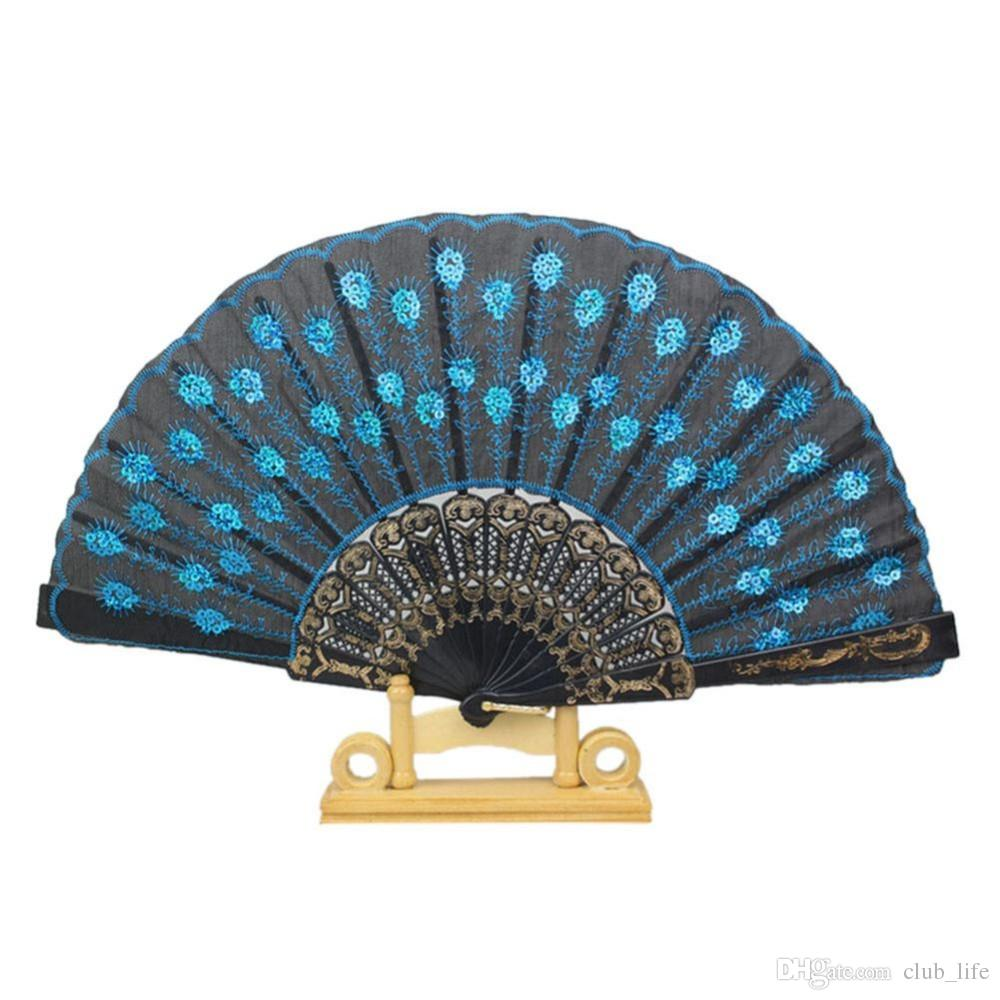 Plastic Embroidered Sequins Folding Flower Lace Fan Dance Hand Fans Party Wedding Decor Dancing Supplies Spanish Style DF5449