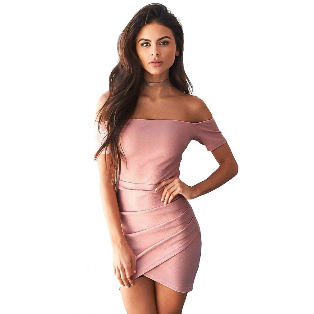 0d8420d26a Compre Mujeres Sexy Vestido Corto Lápiz Fuera Del Hombro Asimétrico  Drapeado Vestido Del Vendaje Sin Respaldo Mini Bodycon Club Party XL De Una  Pieza A ...