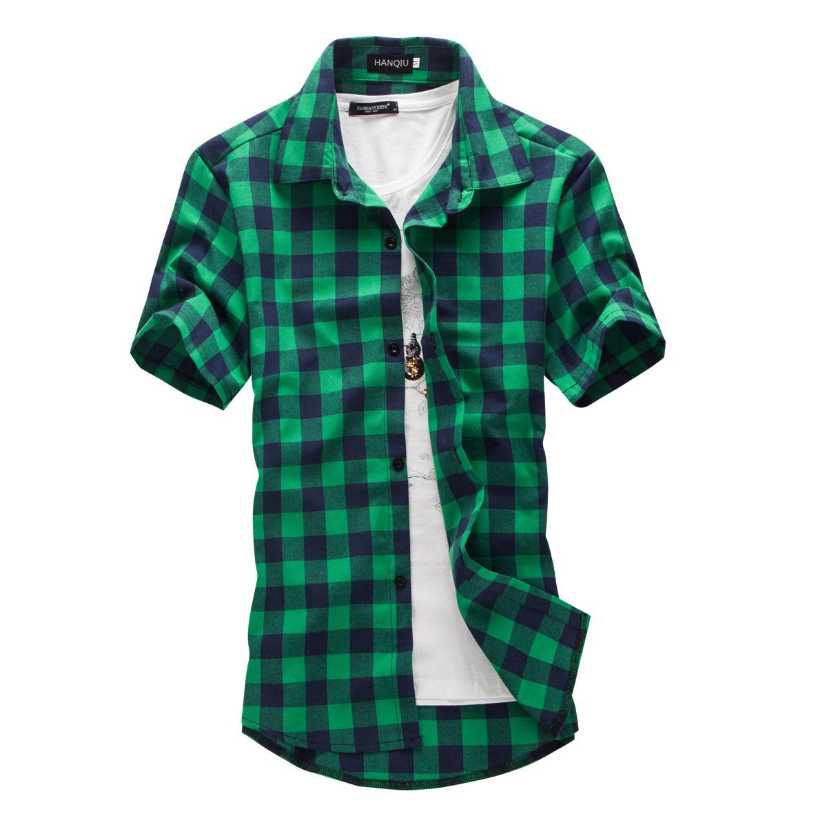 027ec281f6aa9 2019 Navy And Green Plaid Shirts Men New Arrival Summer Men S Casual Short  Sleeve Shirts Fashion Chemise Homme Men Dress Shirts From Johnbob1994