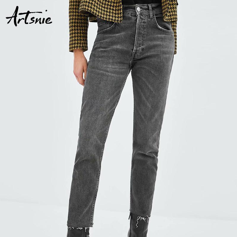 f629eed87 Artsnie Dark Grey Boyfriend Ripped Denim Lápiz Pantalones Mujeres Otoño  2018 Streetwear Casual Pockets Jeans Winter Girls Pants Femme