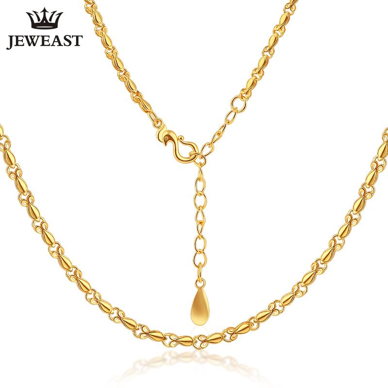 a662f0f41 2019 24K Pure Gold Necklace Real AU 999 Solid Gold Chain Smooth Simple  Upscale Trendy Classic Party Fine Jewelry Hot Sell New 2018 From Wutiamou,  ...