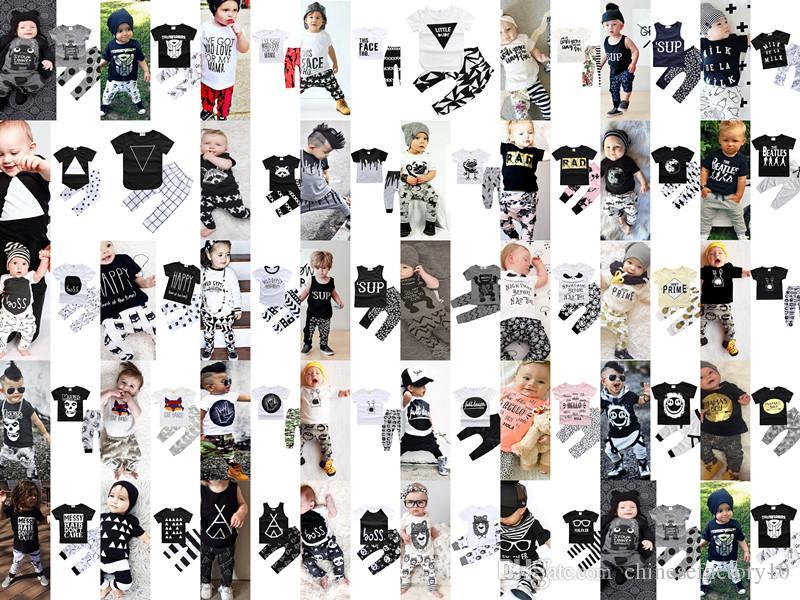 f2eca9816df8 Acheter Ins Nouveau Né Bébé Printemps Été Ensemble De Vêtements Tenues  Manches Courtes T Shirt Pantalons Enfants Vêtements Garçons Vêtements D été  De  4.56 ...
