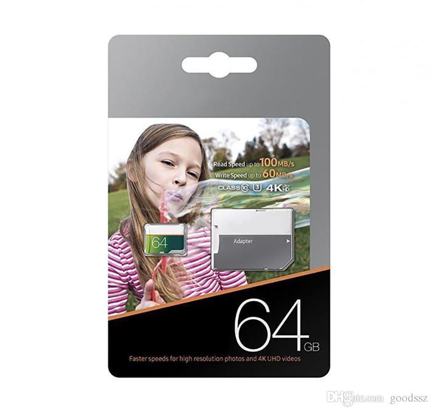 EVO 선택 UHS-I TF 카드 256GB 128GB 64GB 32GB 16GB 클래스 10 U3 어댑터가있는 Micro Memory SD 카드가 빠른 속도