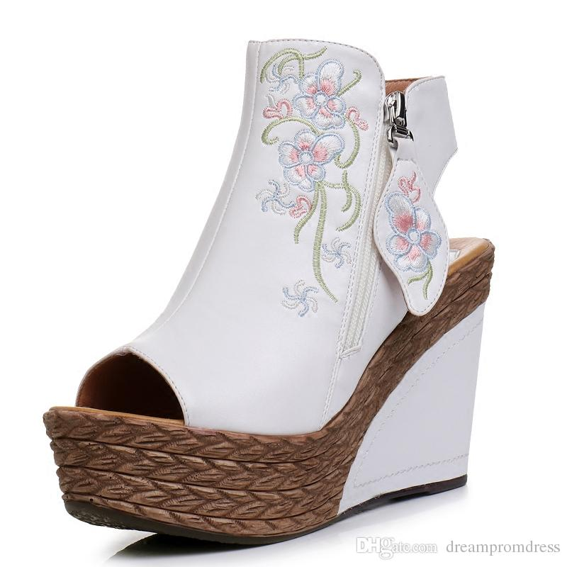 Ethnic Style Bridal Shoes White Wedge Heel Wedding Shoes For Bride ...