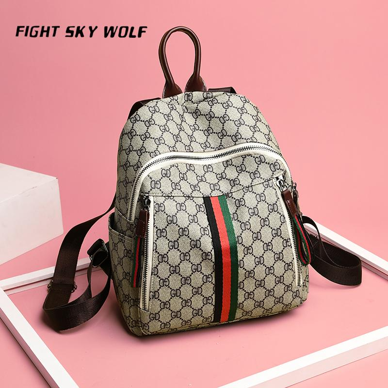 Small Women Backpacks Female School Bags For Teenage Girls Black PU Leather Women  Backpack Shoulder Bag Purse FIGHT SKY WOLF Ogio Backpack Rucksacks From ... 8174b37738