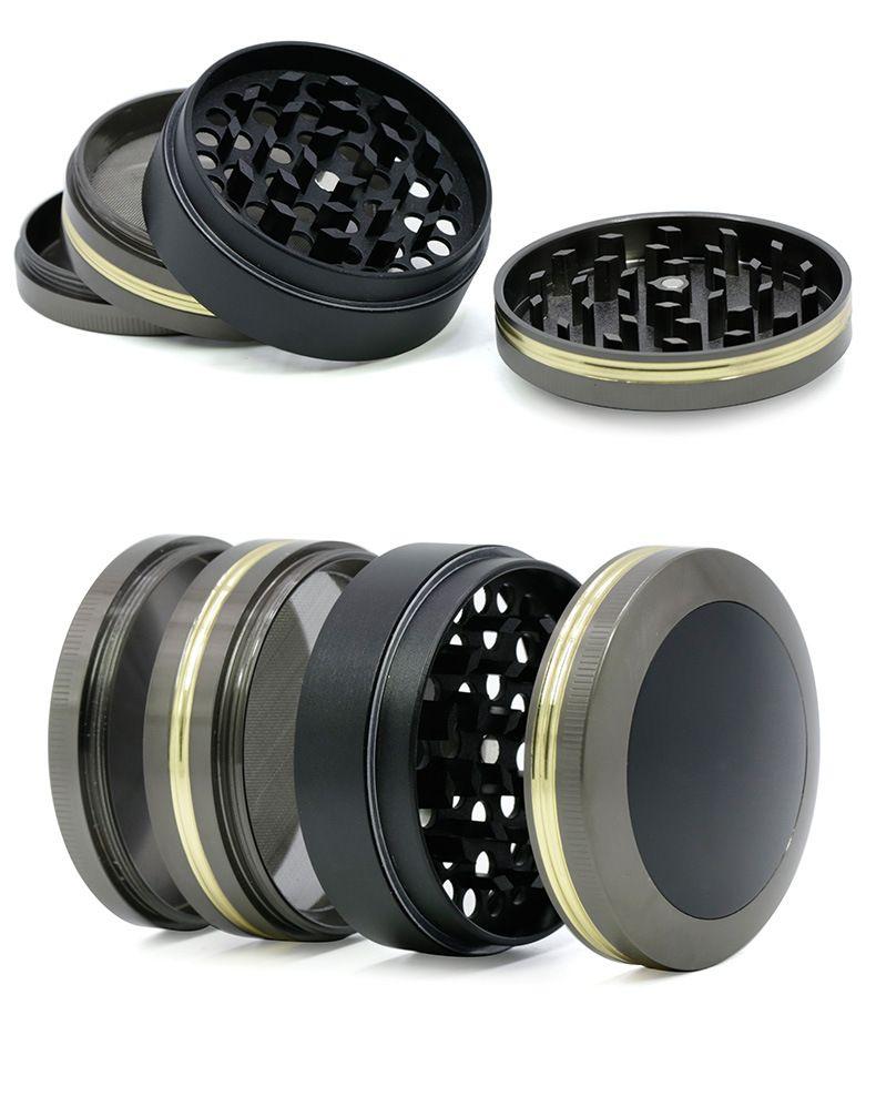 Herb Grinder 63mm diameter dome cover double gold edge grinder 4 part Metal Grinder Zinc Alloy OEM logo