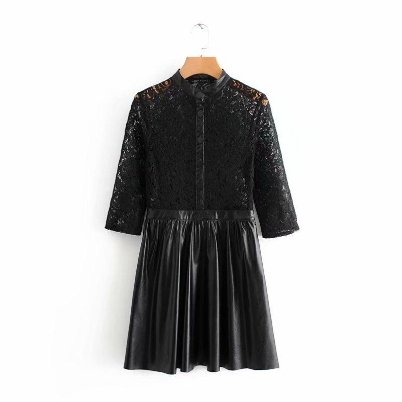 3eecb783e Mujeres vintage encaje negro crochet patchwork PU cuero plisado mini  vestido de las señoras del collar del soporte vestidos elegantes vestidos  retro ...