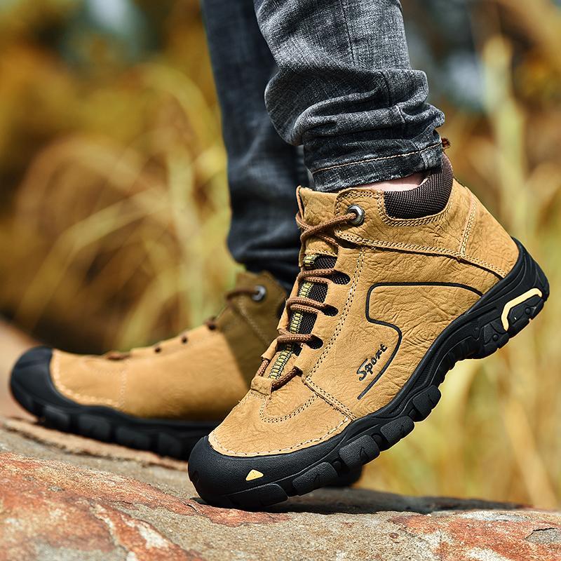 best sneakers b3b4d a4755 Herren Kurze Leder Stiefel Kuhfell Winter Schnürstiefel Casual Outdoor  Schuhe Wasserdichte Wandern Arbeitssicherheitsstiefel