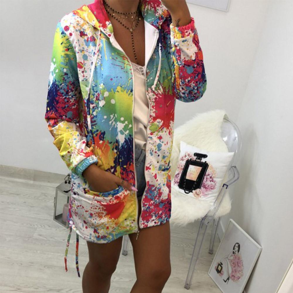f88d83d30e9 CHAMSGEND New Jacket Women Fashion Womens Tie dyeing Print Coat Outwear  Sweatshirt Hooded Jacket Overcoat 2018 Autumn