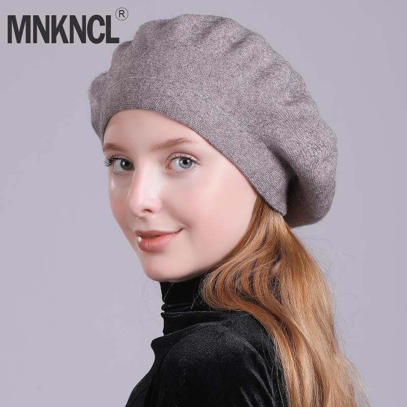 2019 MNKNCL Women s Lady Knitted Beret Hat Cashmere Braided Hat French Beret  For Winter Autumn Solid Color From Hongshaor 6273e47d3699