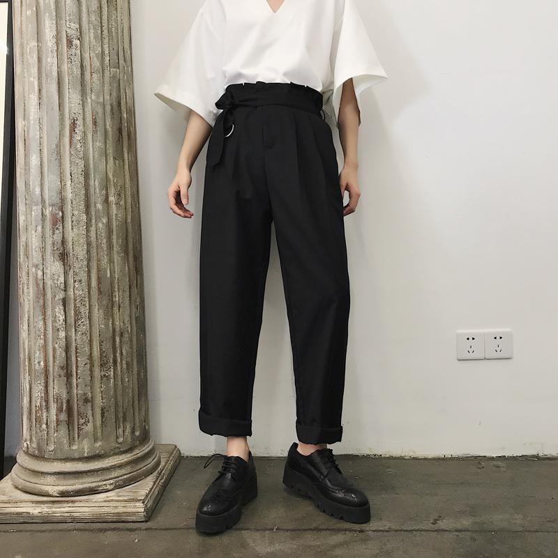 2019 Japan Style Male Straight Wide Leg Trousers Men Retro Fashion