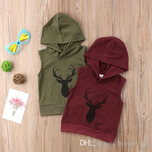 a19a63b5e2692d 2019 Summer Baby Boys Girls Clothes Tops Kids Hoodies Clothing Reindeer  Toddler Children Sleeveless Hooded Sweatshirt Sports T Shirt Age 0 5Y From  Bonne kid ...