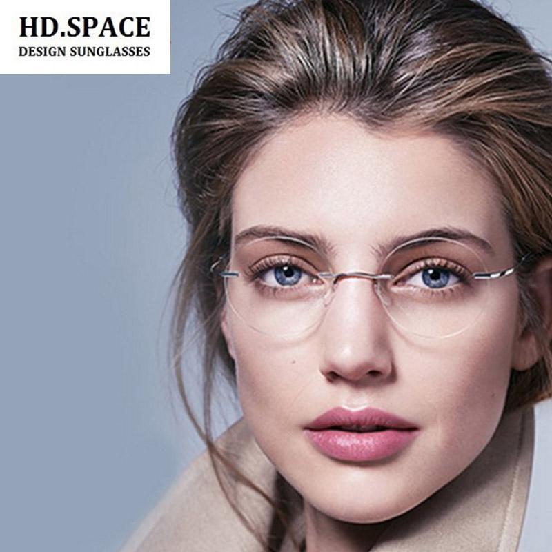 300ffce8e15 Space Ultra Light Round Rimless Optical Frame Men Women Titanium Rimless  Glasses Fram Eyewear For Prescription Eyeglasses From Zaonoodle