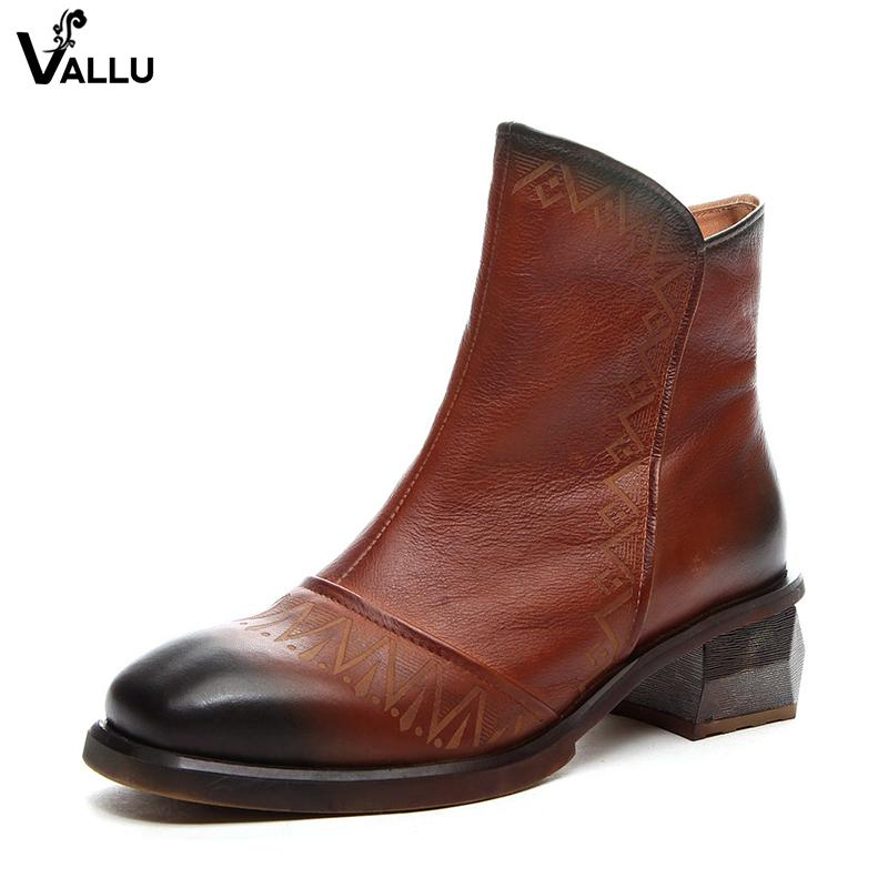 b6b6da0eeff 2018 VALLU Chunky Heel Shoes Woman New Female Ankle Booties Carve Flower Cow  Leather Lady Boots Online with  284.66 Pair on Baby108 s Store
