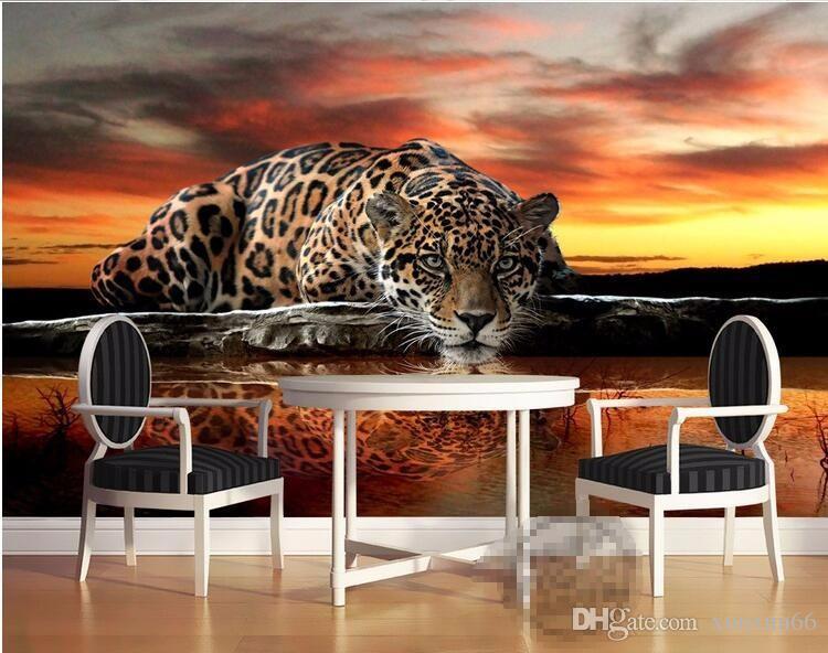 Grande personalidade mural tigre leopardo elefante sala de estar sofá quarto TV fundo papel de parede KTVi bar papel de parede