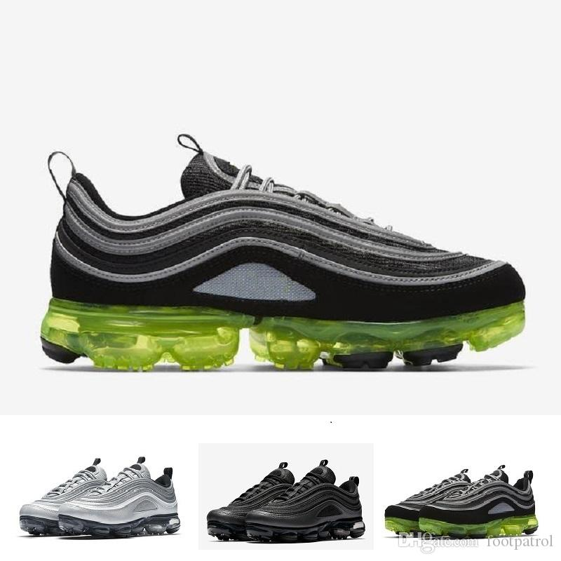 [With Box] 2018 Newest Vapormax 97 97s Running Shoes For Mens Silver Gold Bullet Triple s white balck Japan Sports Trainers Sneakers.