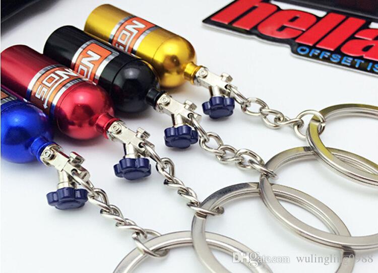Nos توربو النيتروجين زجاجة معدنية مفتاح سلسلة حلقة رئيسية حامل سيارة المفاتيح قلادة مجوهرات للنساء الرجال فريد البسيطة كيرينغ