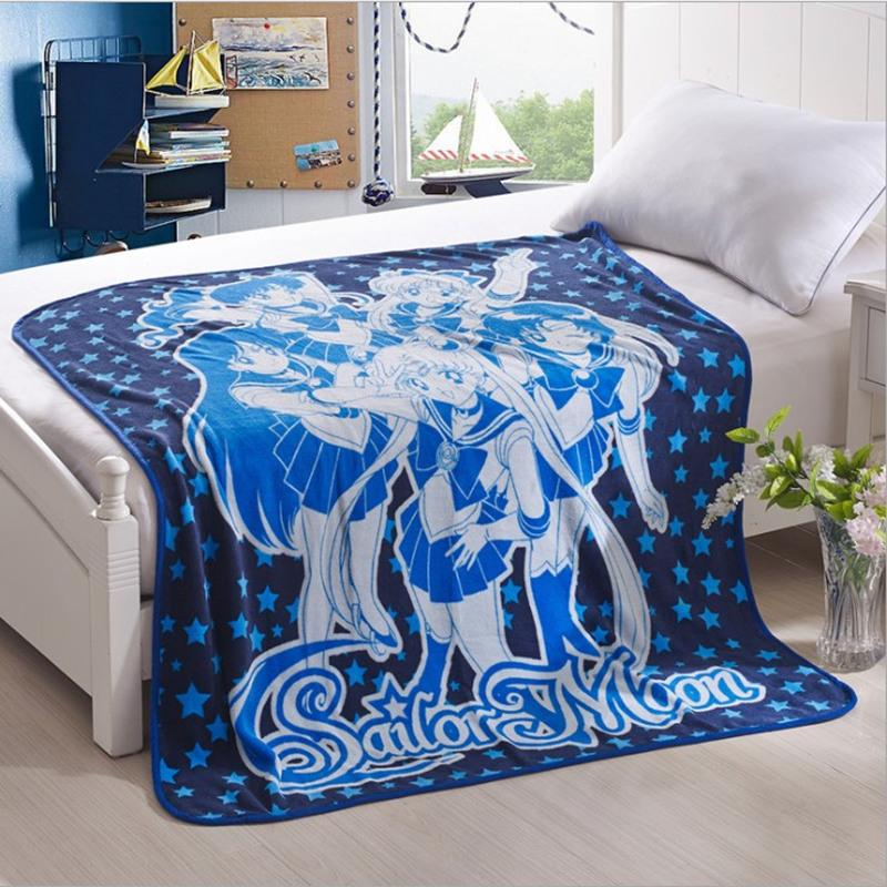 Großhandel Kostenloser Versand Sailor Moon Weiche Fleece Decke Sofa