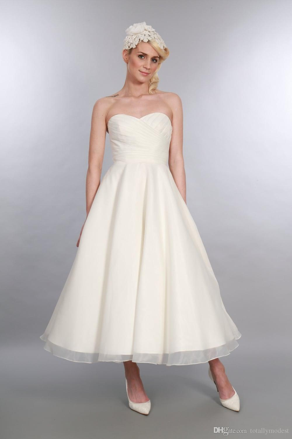 Discount Calf Length 1950s Short Wedding Dresses