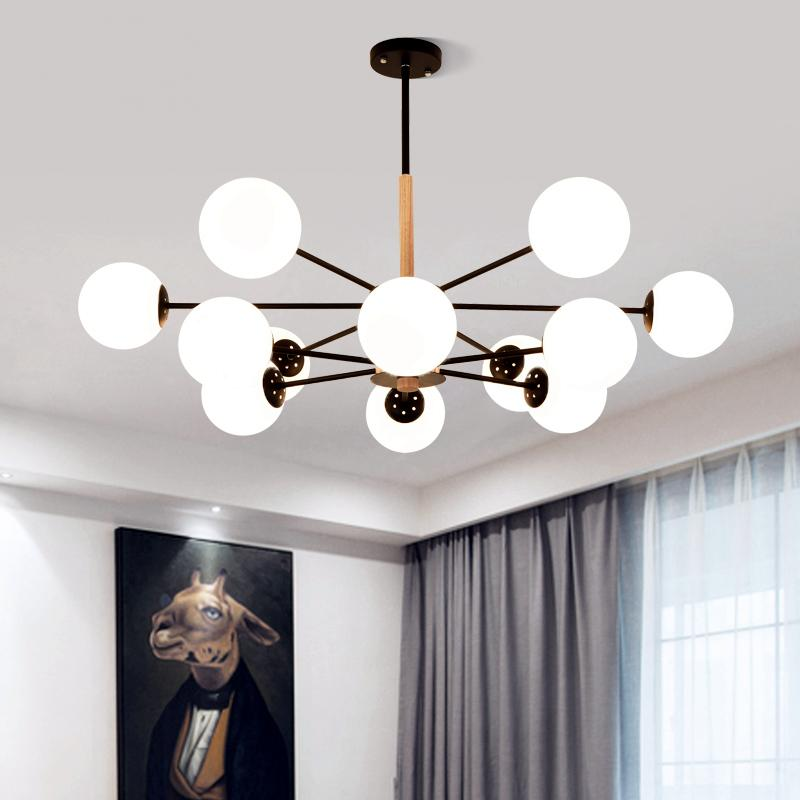 Post-modern Led Chandelier Wooden Bedroom Suspended Lighting Loft Novelty Fixtures Nordic Luminaires Living Room Hanging Lights Lights & Lighting Ceiling Lights & Fans