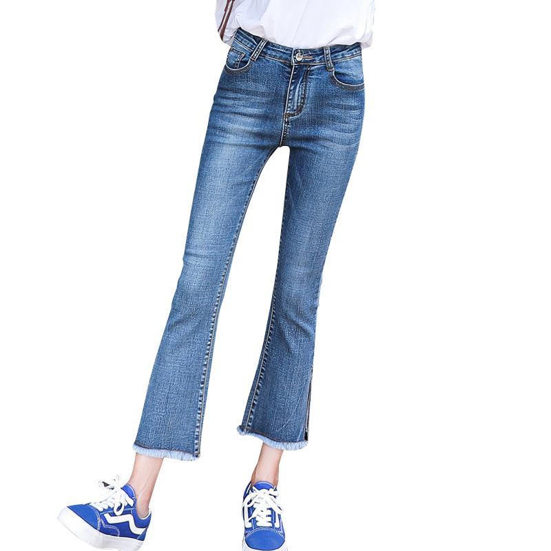 46c7fb532d86 Acquista Pantaloni Donna Alla Caviglia Pantaloni A Vita Bassa Jeans  Stretching For Girls Pantaloni Donna Jeans Irregular Nassar Flare Jeans A  $35.47 Dal ...