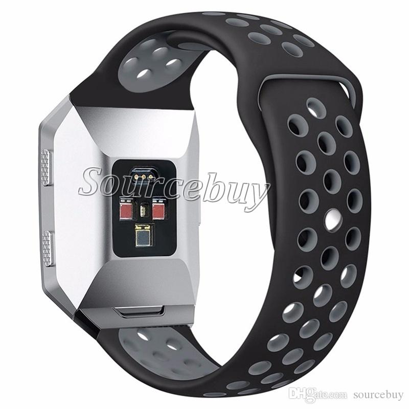 High Quality Silicone Replacement Wrist Band Soft Strap Two-color Cover for Fitbit Ionic Smart Watch Small/Large Size Breathable Holes Bands