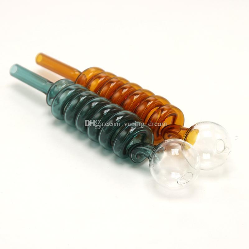 7 couleurs 7 verre Pyrex lourd Rotation spirale brûleur à huile 30mm Globe Tuyau Straght Pipes paille 6.4