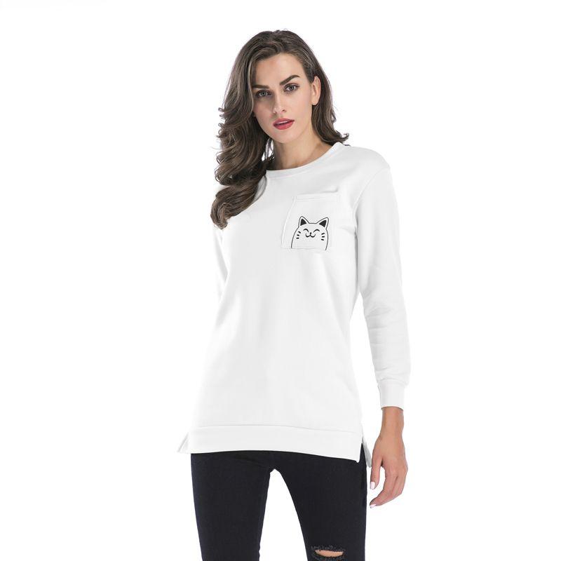 c9899cc3fe88 2019 Print Hoodie Women Pullovers Autumn Winter Warm Fall Casual Hooded  Full Sleeve Preppy Sweatshirt Female Long Coat Round Neck Fleece BM106 From  ...