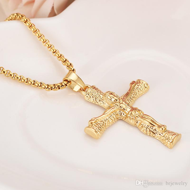 Gold Color Wooden Cross Crucifix Jesus Piece Pendant Necklace Beads Chain Copper Men Chain Christian Jewelry Gifts Vintage