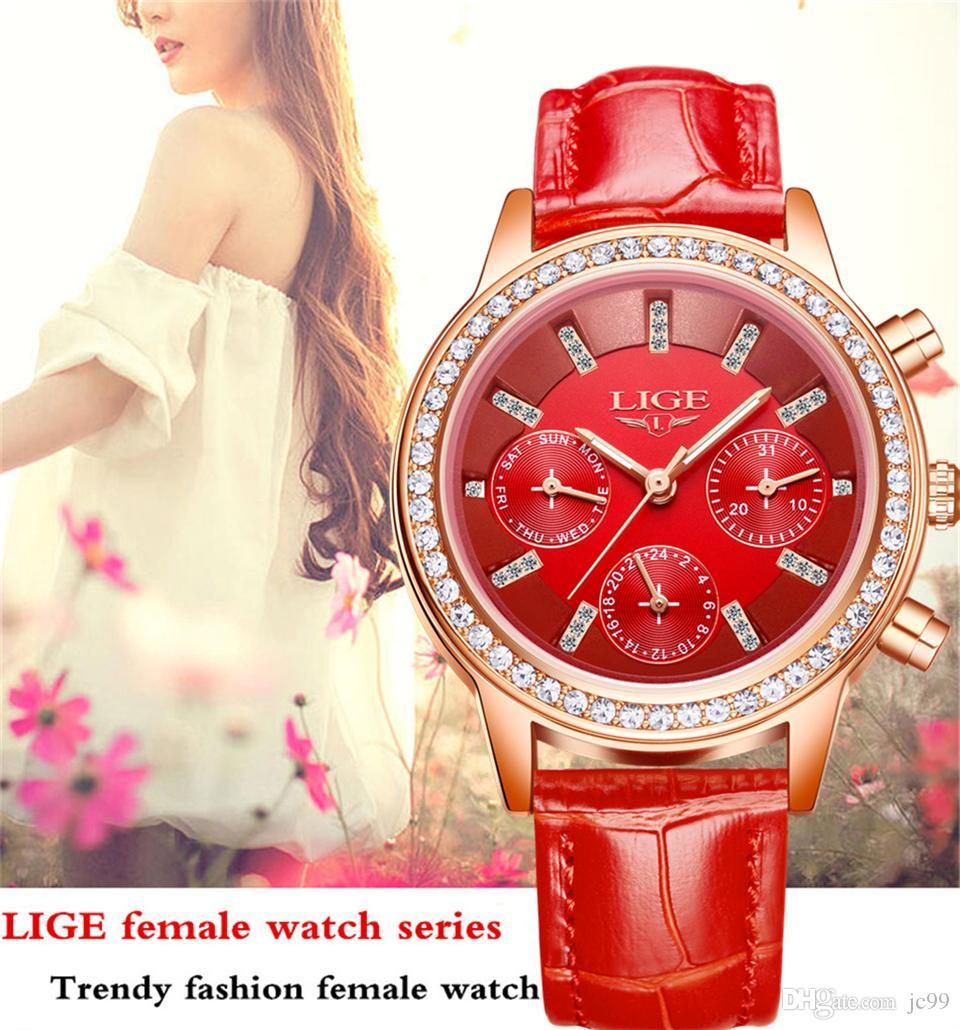 685abe2d6a6 Women Watches LIGE Luxury Brand Girl Quartz Watch Casual Leather Ladies  Dress Watches Women Clock Waterproof Watch Ladies Watch Gift Women's Watch  Diamond ...