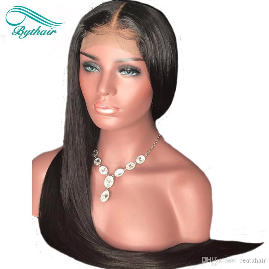 Bythairshop Droite Full Lace Perruques De Cheveux Humains Pour Les Femmes Noires Droite Perruque En Dentelle Avant Vierge Perruques Cheveux Avec Des Cheveux De Bébé Blanchi Noeuds