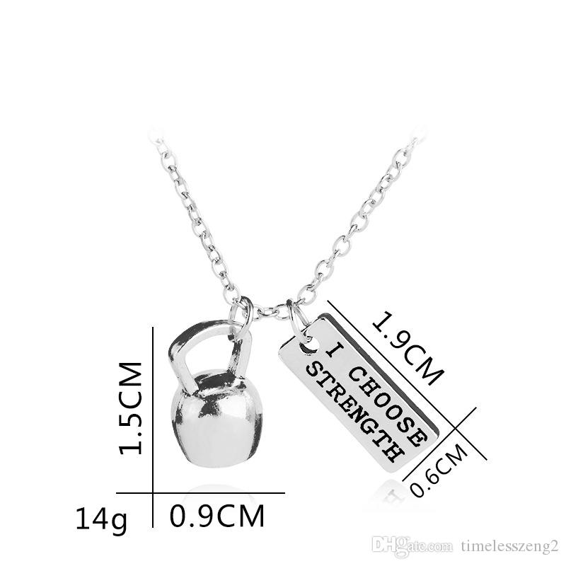 New arrivel sports fitness department necklace Dumbbells barbell etc sports equipment pendant necklace Creative fitness enthusiasts gift