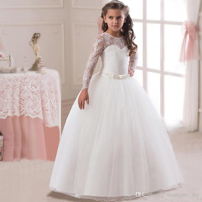Hot Sale 8Colors Girls White lace Flower Dresses long sleeve Princess Girls ball gown wedding dress Birthday party First Communion dress D12