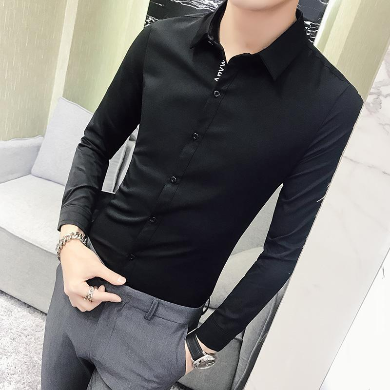 58095d044a1 2019 Spring Men Solid Shirt Social 2018 New Slim Fit Long Sleeve Letter  Design Mens Tuxedo Dress Shirts Casual Singer Costume 5XL S From Yakima