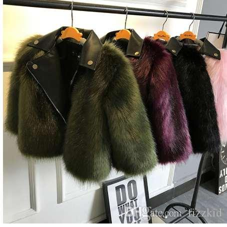 16afb3d55f37 Girl fur Coat Jacket Imitation fox Artificial Fur Grass High Quality  Plush+leather Fake Two Pieces Winter Kids Clothes Warm Fur