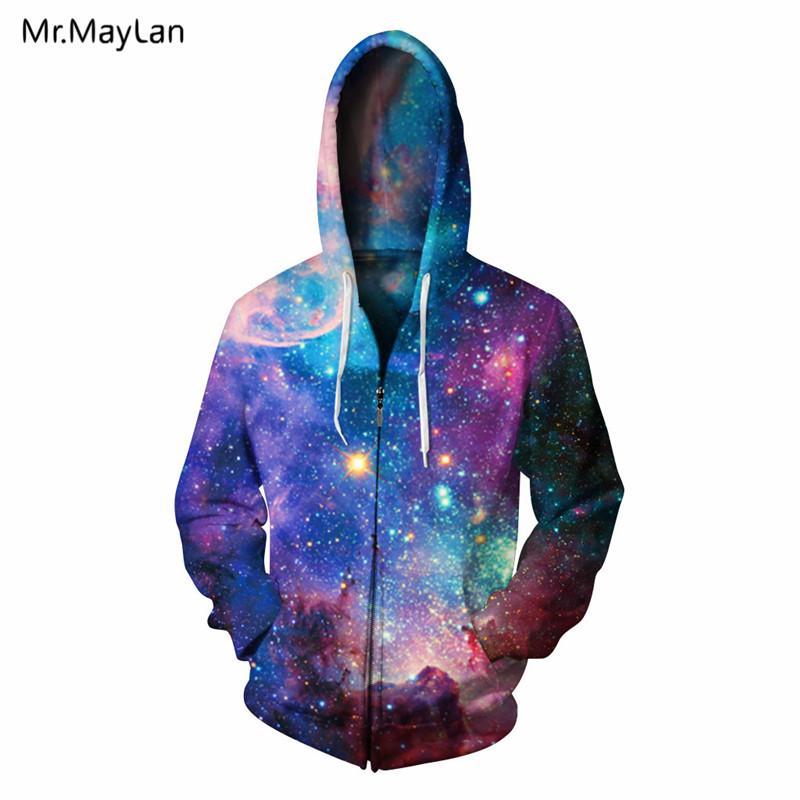 e0559bec8e2 Hipster 3D Print Bright Galaxy Space Bling Zipper Hoodies Men Women Fashion  Streetwear Hat Sweatshirts Boys Autumn Jacket Outfit UK 2019 From Purlove