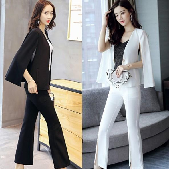 2019 Ladies Work Office Pant Suits For Women Black White Business
