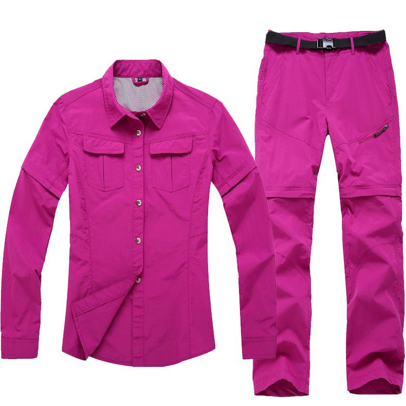 23a43e3226ee Women s Outdoor Hiking Camping Fishing Trekking Quick Dry Shirt+Pants Suit  Removable Whole-colored Clothes Summer Spring Autumn C18111401 Online with  ...