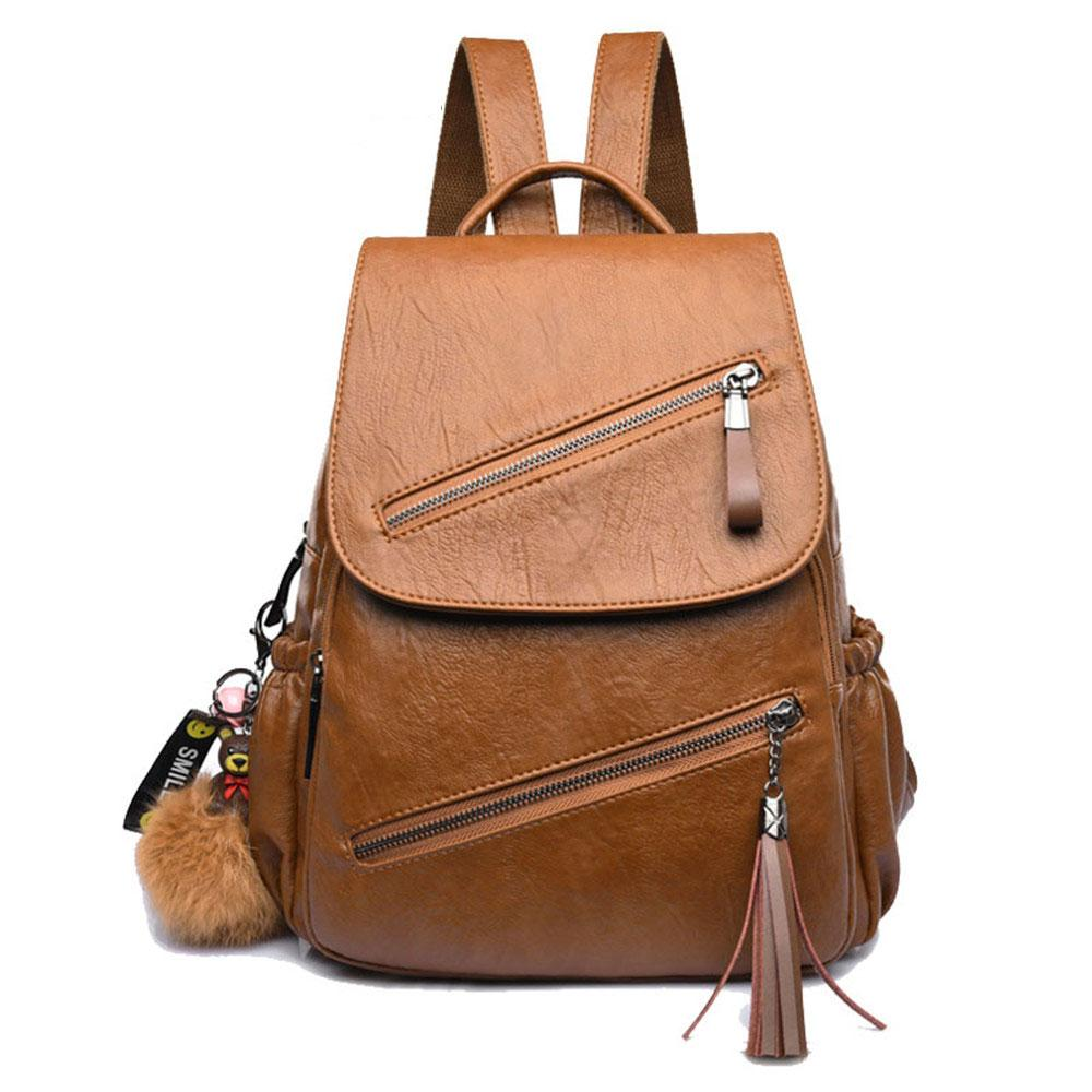 Vintage Women Backpack Brand Leather School Bags Bear Tassel Bookbag Double  Zipper Backpack Female Designer Travel Bag Bolsa Travel Backpacks Small  Backpack ... ef90cb88bdef5