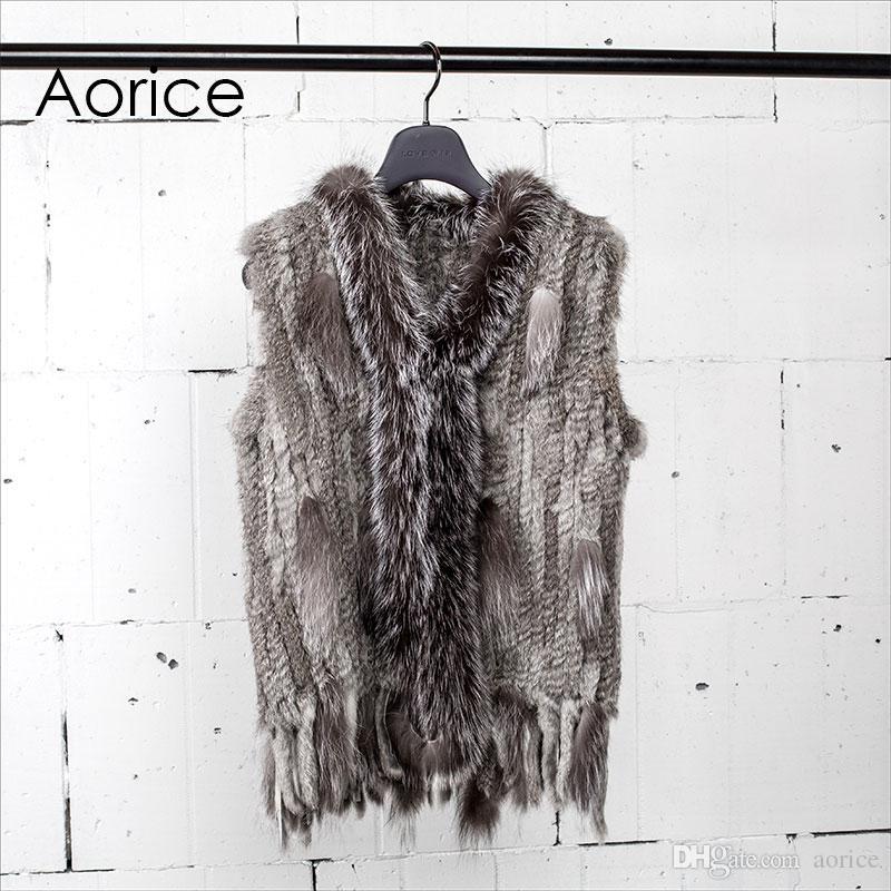 ed99d5861c7 Pudi VT7003 New Winter Women Vest Real Classical Knitted Rabbit Fur ...