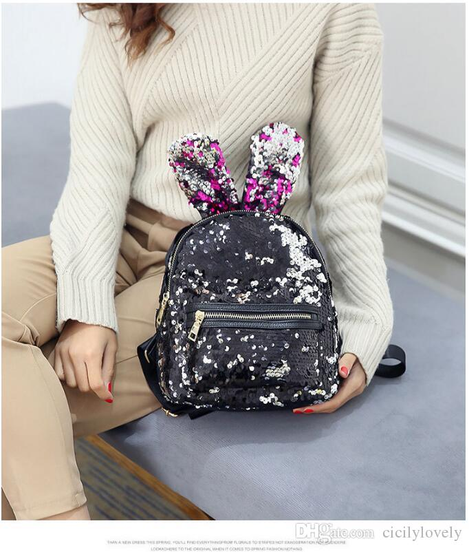 Fashion Women PU Leather Sequin Backpack Designer High Quality Girls School  Backpacks Mochila Escolar Over The Shoulder Bags Hobo Handbags From  Cicilylovely ... 16e056f37a9b1