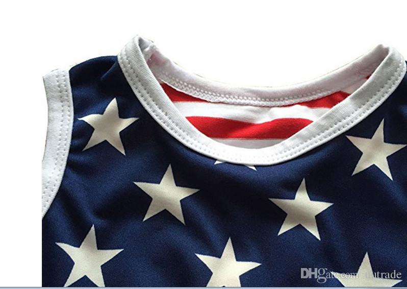 2 adet / takım Bebek Kız temmuz kıyafetler 4th Bağımsızlık Günü yaz Romper yenidoğan kız 4 temmuz bebek temmuz 4th kıyafeti set yıldız baskı tulum